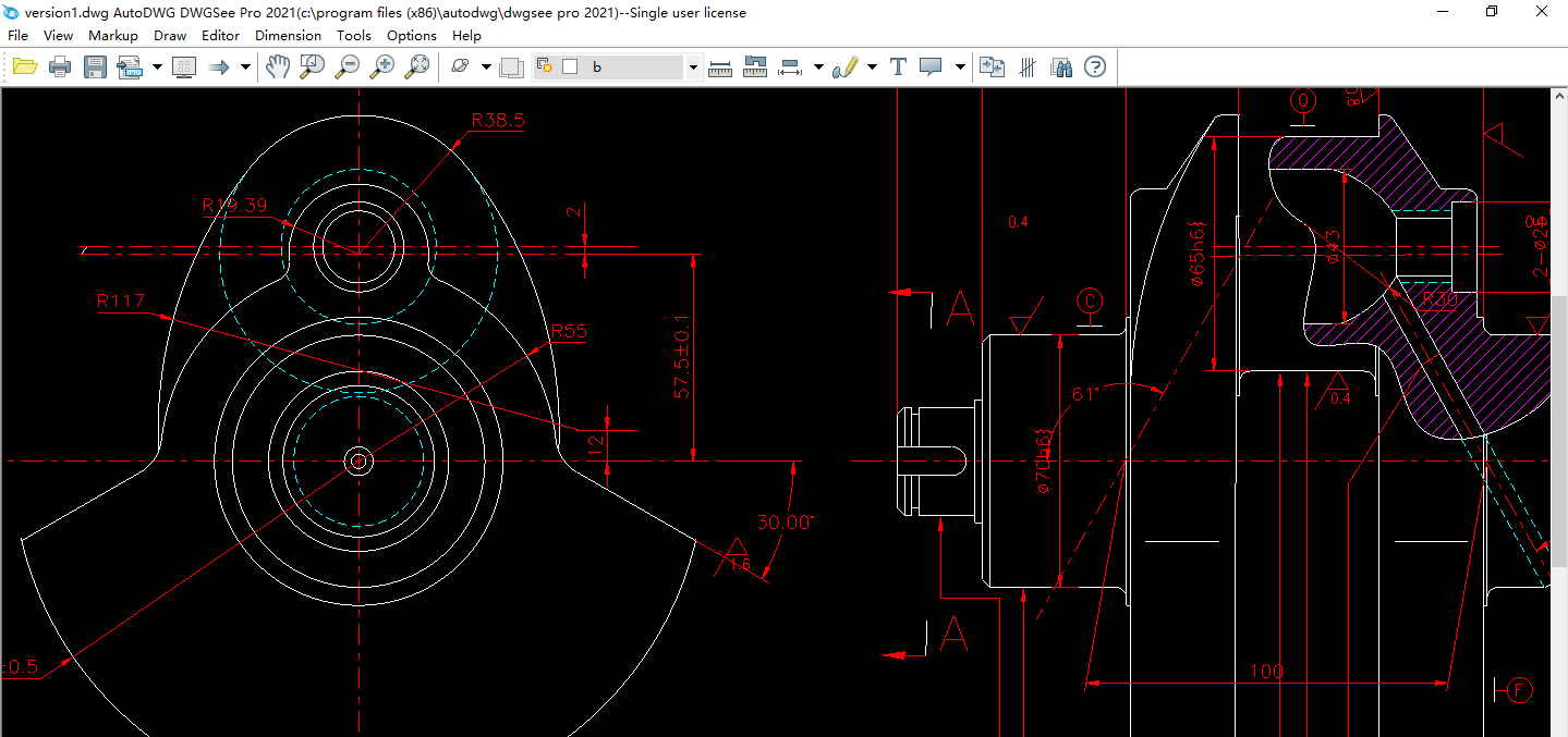 Features for DWGSee Free AutoCAD drawing viewer